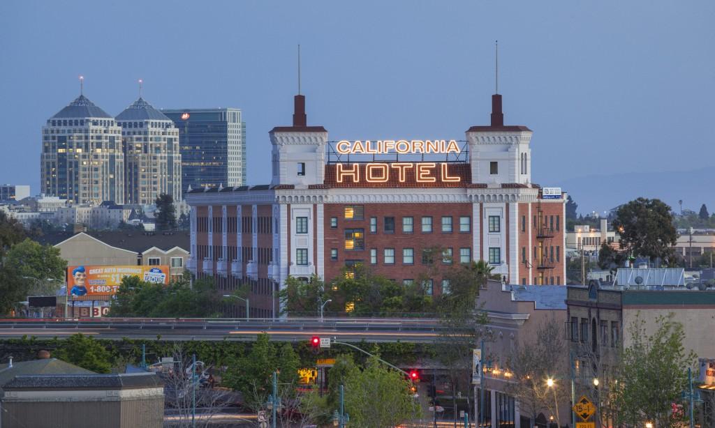 California Hotel at dusk
